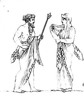 Zeus_&_Héra,_dessin_du_bas-relief_d'un_autel_romain